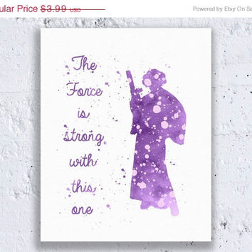 Star Wars Print Princess Leia Quote Purple Star Wars Art Star Wars Wall Art Star Wars Decor Watercolor Wall Art Digital Download Art