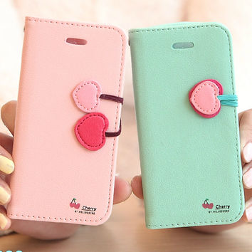 For iPhone 5S Stand Wallet Cases Cute Cherry Series PU Flip leather Case For iPhone 5 5S SE 5G 5C 4S 4 Card Slot Holster Cover