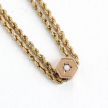 Antique Rose Gold Filled Opal Slide Charm Necklace - Late 1800s Victorian Long Fob Pocket Watch Chain Jewelry