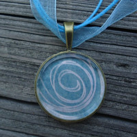 Blue with White Swirl A pendant charm necklace made by KKMaries