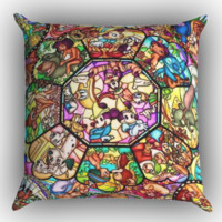 all character disney stainley glass Zippered Pillows  Covers 16x16, 18x18, 20x20 Inches