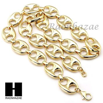 """14K Gold Plated 5 to 25mm wide 9"""" 24"""" 30"""" 36"""" Puffed Mariner Gucci Link Chain"""