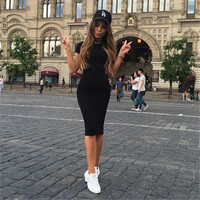 2016 Office Work Sheath Dress Sexy Black Party Dresses Women Autumn Dress Bodycon Knee-Length Dress Vestidos Robe Plus size