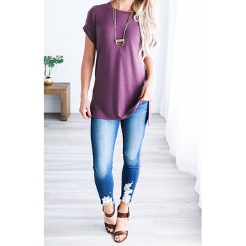 Let's Be Friends Rolled Sleeve Tunic Top - Eggplant