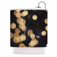 "Cristina Mitchell ""Blurred Lights"" Black Gold Shower Curtain"