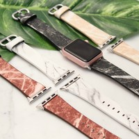 Marble Print Leather Apple Watch Bands