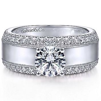 "Gabriel ""Amos"" Wide High Polished Diamond Engagement Ring"