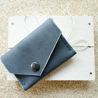Genuine Leather Card Holder Wallet for credit cards and folded banknotes