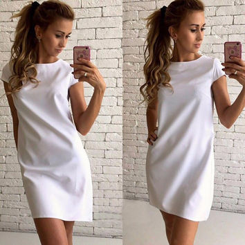 2017 Summer Women Dress Fashion Women's Short Sleeve Round Neck Loose Casual Tops Short Mini Dresses Vestido De Festa