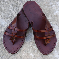 brown leather sandals, leather sandal, greek sandals, leather slippers, women sandals, Jerusalem sandals, brown sandals summer sandals