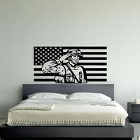 Wall Vinyl Sticker Decals Decor Mural United States Patriotic American Flag Soldier Logo 100