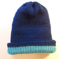 Reversible beanie hat,Blue hat,Baby blue Beanie,peacock hat