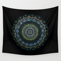 Blue and Green Mandala Wall Tapestry by YiaEfthimia