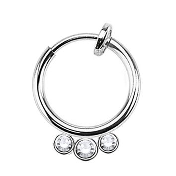 BodyJ4You Non-Piercing Hoop Septum CZ Spring Action Gem Fake Body Jewelry