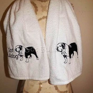 Embroidered Got English Bulldog Gym Sports Fitness Towel