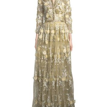 Badgley Mischka Embroidered Lace Shirtwaist Gown