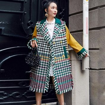 LANMREM New Arrival Green Plaid Tassel Patchwork Jackets For Women Fashion Contrast Color Long Type Caot YF03706