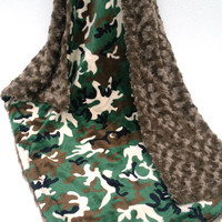 ON SALE Camouflage Minky Dot Baby Blanket - Green and Brown Camo