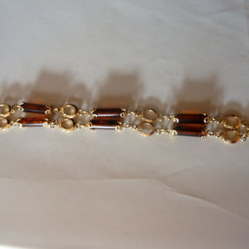 Vintage Sarah Coventry amber tortoise shell bead with gold filigree setting bracelet costume jewelry