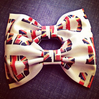 One Direction British flag handmade fabric hair bow