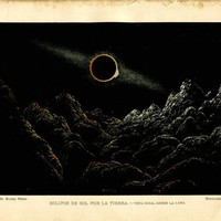 1893  Astronomy Print, Solar Eclipse seen from the Moon