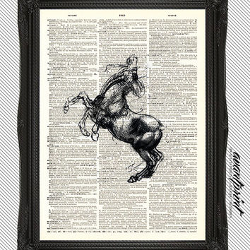 Horse Sketch by Leonardo da Vinci Antique Art Print on an Unframed Upcycled Bookpage