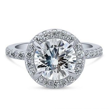 A Perfect 2.8CT Round Cut Halo Russian Lab Diamond Engagement Ring