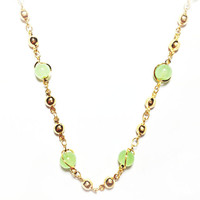 JADE GREEN GOLD TONE NECKLACE for Woman W/ GIFT BOX