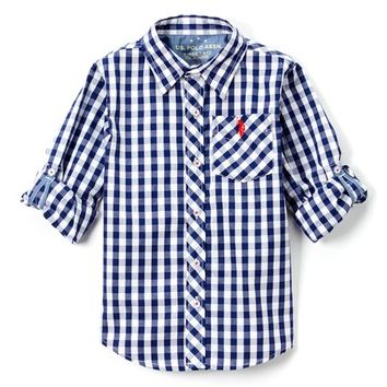 Marina Blue Plaid Roll-Sleeve Button-Up - Boys