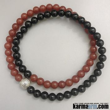 SUCCESS: Black Onyx | Red Agate | Prosperity Icon Yoga Chakra Bracelet