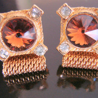 Vintage Topaz Rivoli Glass & Rhinestone Mesh Wrap Cuff Links * 1960s * For Men * For Women * Jewelry * Jewellery