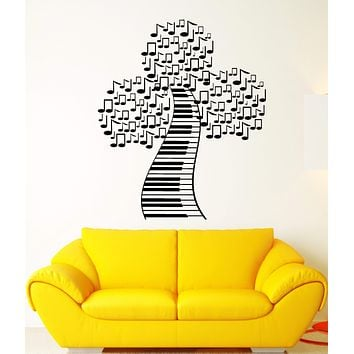Vinyl Wall Decal Piano Keys Pianoforte Notes Tree Music Style Stickers Unique Gift (1664ig)