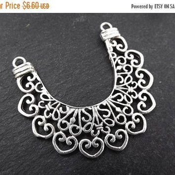SUMMER SALE NEW Large Lace Crescent Pendant Connector Matte Antique Silver Plated Turkish Jewelry Making Supplies Findings Componen