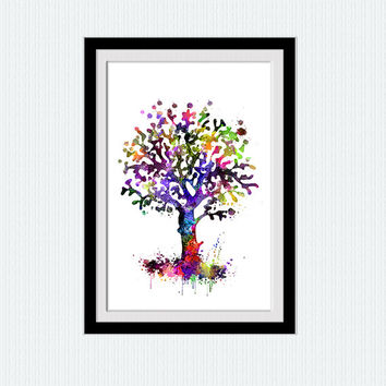Tree watercolor poster Summer colorful tree print Tree colorful poster Home decoration Wall hanging art Wall art for gift Kids room  W237