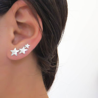Star ear cuff, sterling silver Ear Climber, silver studs, silver climbing earrings everyday earrings, silver earrings, 3 stars