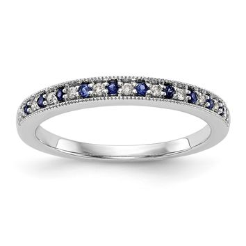 14k White Gold Genuine Blue Sapphire & Diamond Alternating Anniversary Band