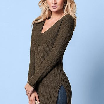VENUS | High Slit Tunic Sweater in Olive