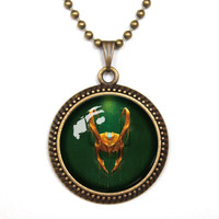 Handmade Loki pendant necklace, God of Mischief helmet symbol inspired glass cabochon dome pendant necklace