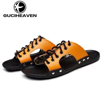 Cowhide Summer Men Beach Sandals Adjustable Lace-up Slippers Male Shoes Mens Slippers Genuine Leather