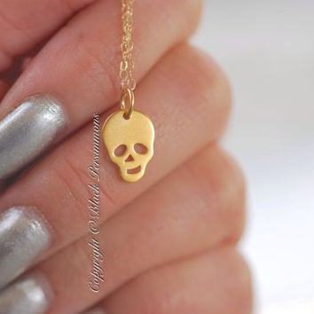 NEW - Drogo Necklace - 24K Gold Plated Sterling Silver Vermeil Skull Skeleton - 14K Gold Filled Delicate Chain - Free Domestic Shipping