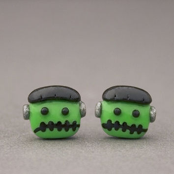 Monster Earrings - Halloween Stud Earrings - Polymer Clay Halloween Jewelry