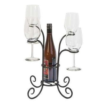 Wine And Glass Caddy Black