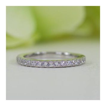 Sterling Silver French Pavé Fine Quality Cubic Zirconia Half Eternity Wedding Band