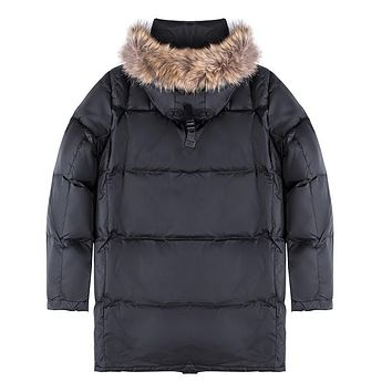 Men Duck Down Jacket Winter Down Coat Parka Raccoon Fur Collar
