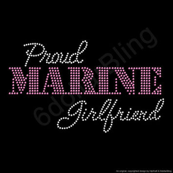 "Rhinestone Iron On Transfer ""Proud Marine Girlfriend"" Crystal Bling Design Pink"
