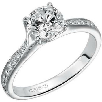 "Artcarved ""Leah"" Channel Set Diamond Engagement Ring Featuring Twist Detail"