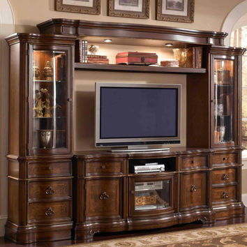 Mc Ferran E9100 4 pc florenza ii dark wood finish tv entertainment center wall unit with glass cabinets