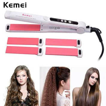 Professional Ceramic Hair Curler + Corn Plate +Hair Straightener Flat Iron Hair Straightening Corrugated Iron Styling Tool A4546