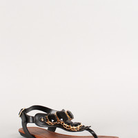 City Classified Gemstone T-Strap Thong Flat Sandal