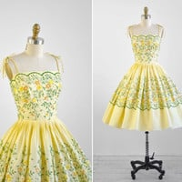 1950s dress / 50s dress / Yellow Cotton Cupcake Party Dress with Floral Embroidery
